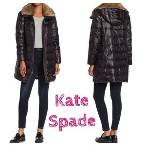 kate spade removable fur trim hooded down jacket